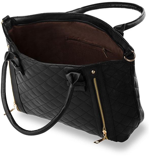 shopper gro e handtasche gepr gt damentasche tasche einkaufstasche schwarz neu ebay. Black Bedroom Furniture Sets. Home Design Ideas